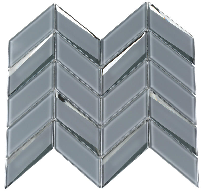 Gray Beveled Herringbone backsplash Tiles Mosaic Mosaic Tiles