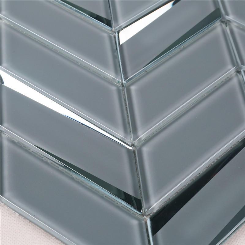 Gray Beveled Herringbone backsplash Tiles Mosaic Mosaic Tiles