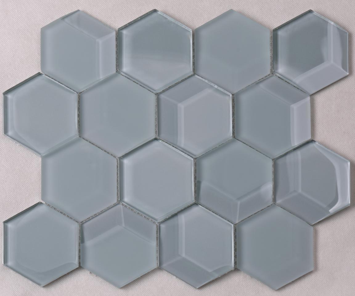 Hexagon Classic Blue Bevel Matt Glass Mosaic for Bathroom and Kitchen