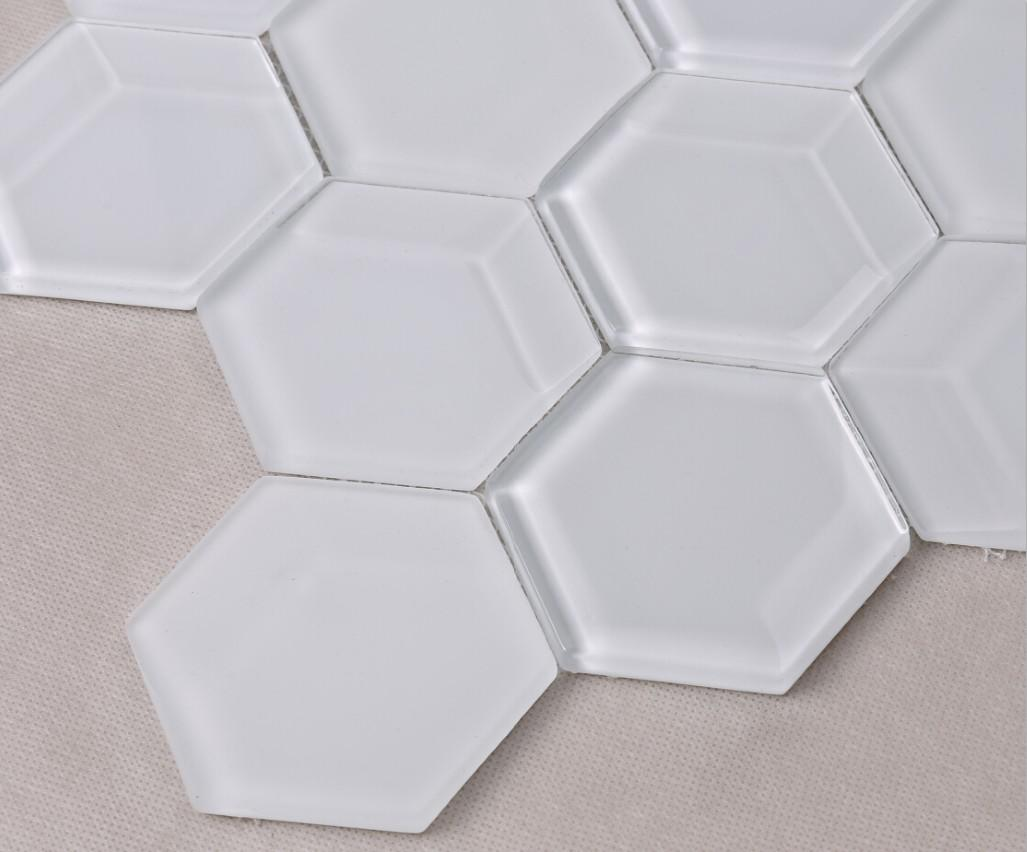 Hexagon Beveled White Glass Mosaic Tiles HMB85