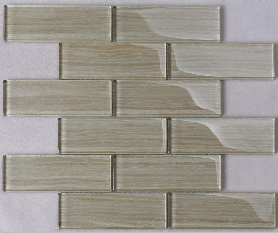 Beige Beveled Glass Mosaic Tiles Backsplash Tiles Kitchen Natural Wood Grain HMP05
