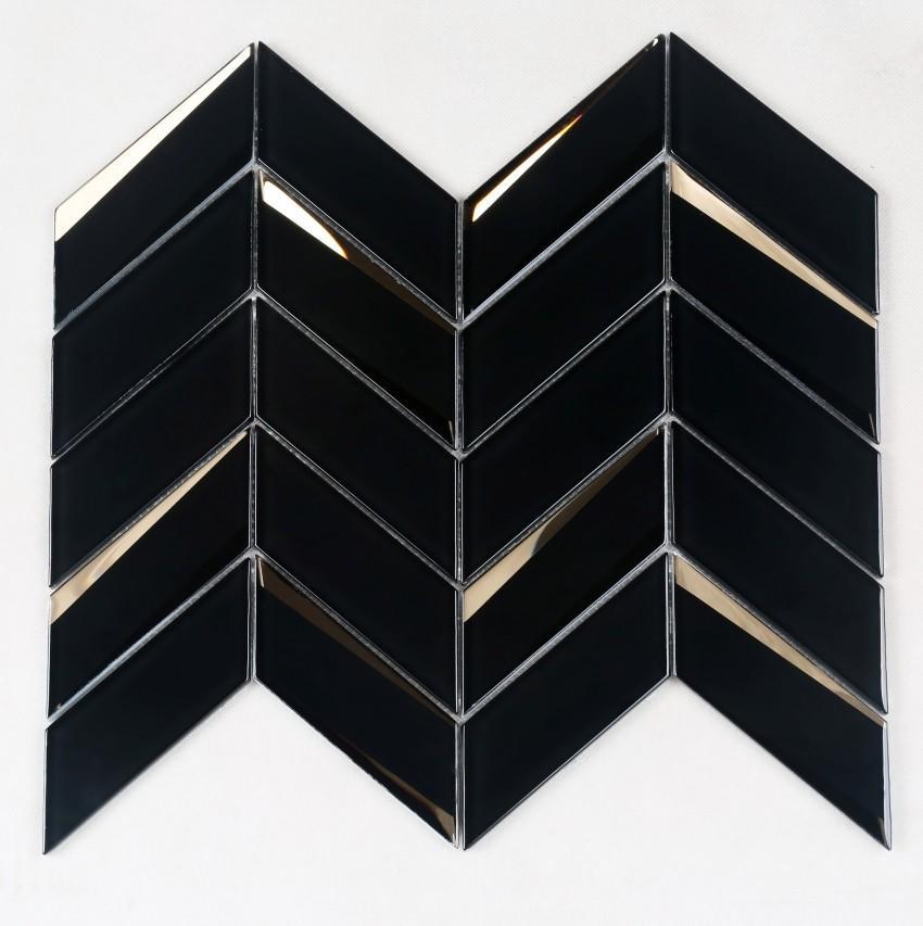 Herringbone Beveled Glass Mosaic Black HMB105