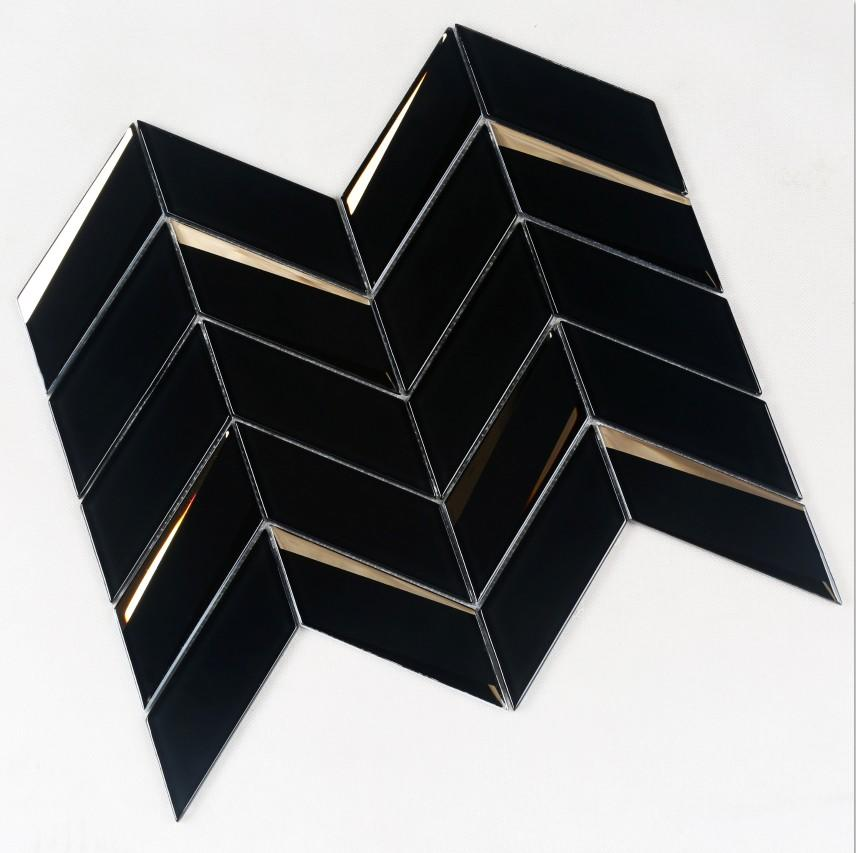 Herringbone Beveled Glass Mosaic Black HMB105