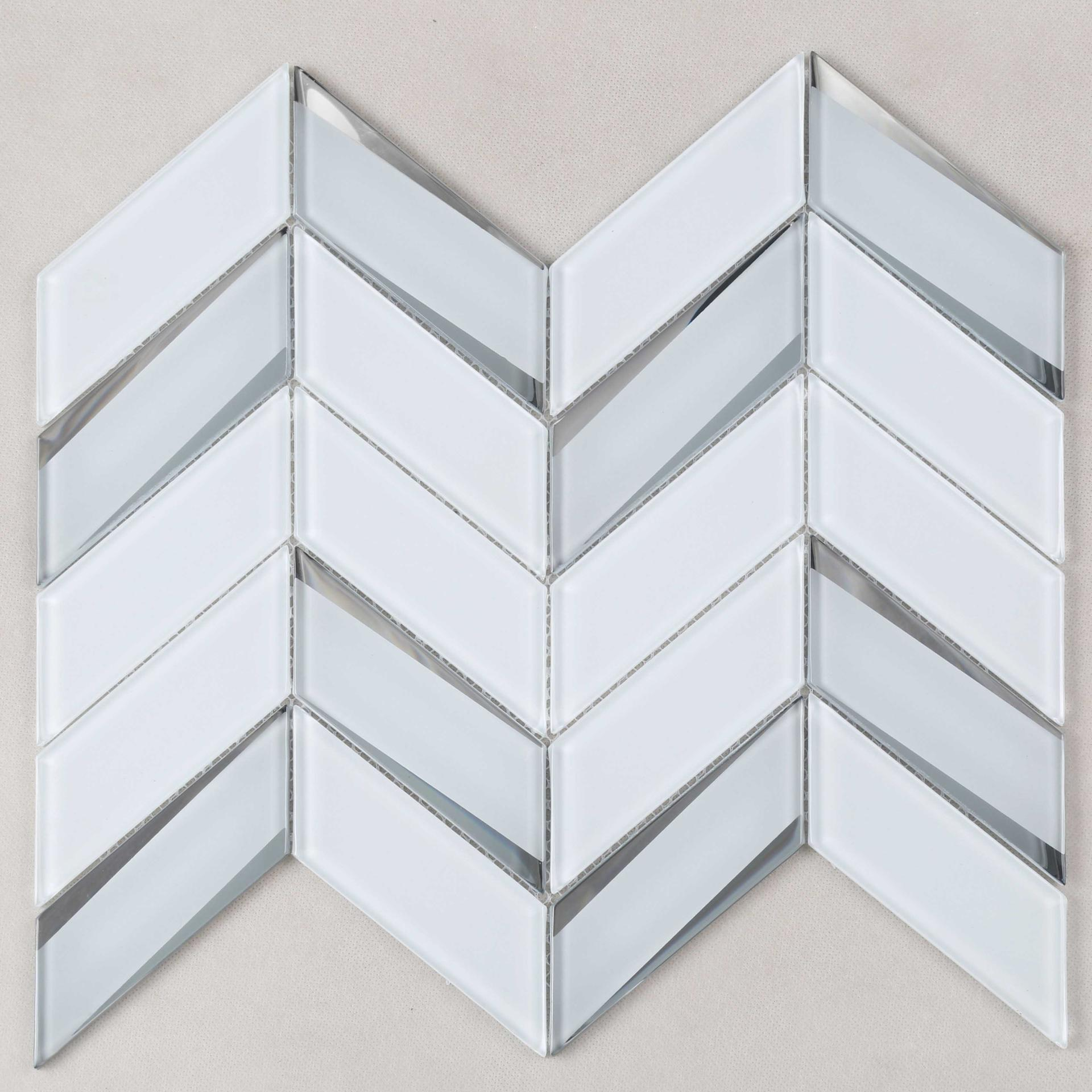 Super White Irregular Bevel Glass Mosaic Tile
