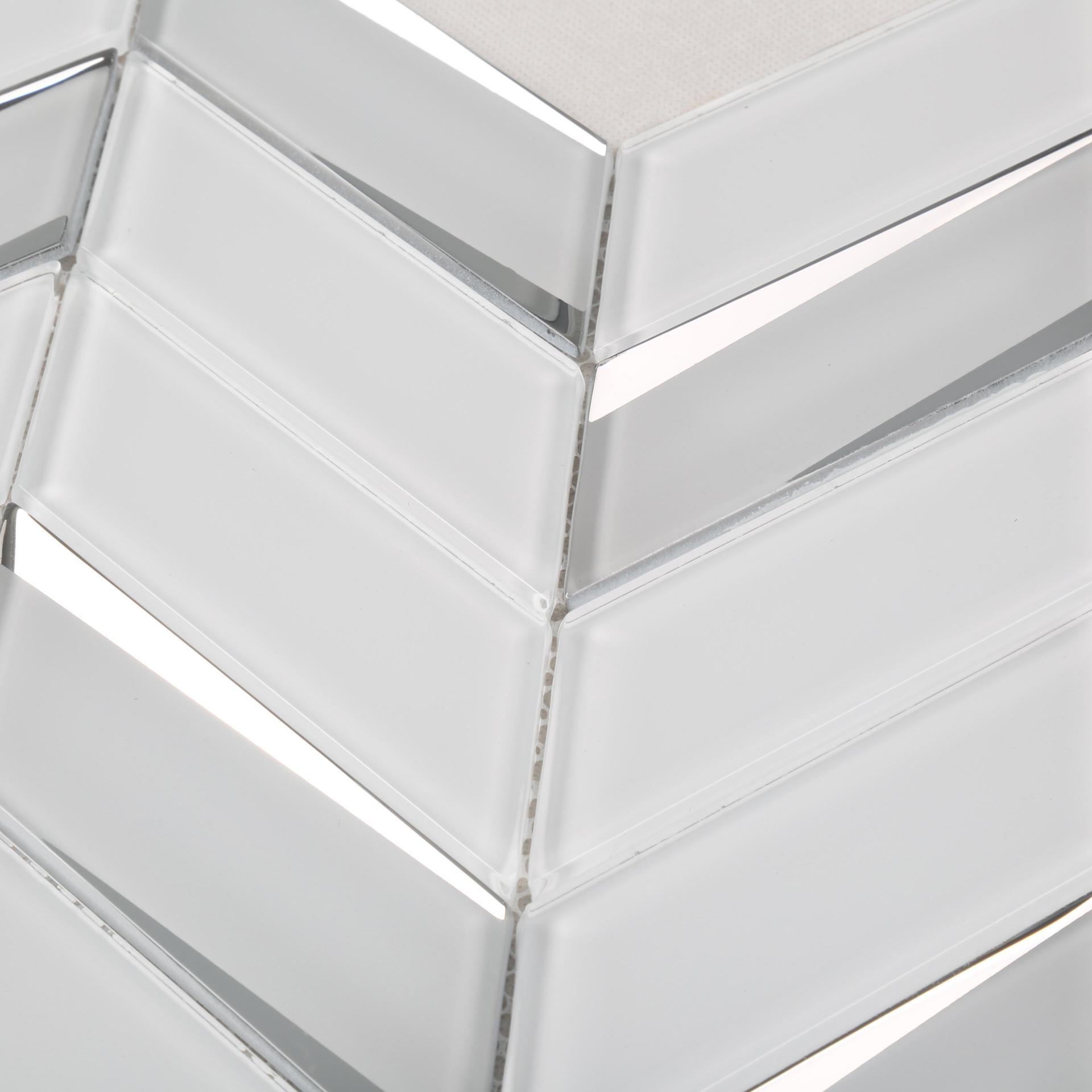 Super White Irregular Bevel Glass Mosaic Tile
