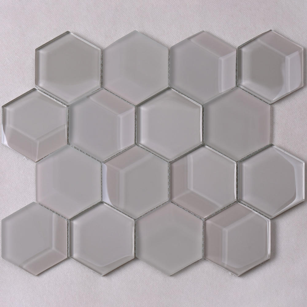 Light Grey Hexagon Bevel Glass Mosaic Tile