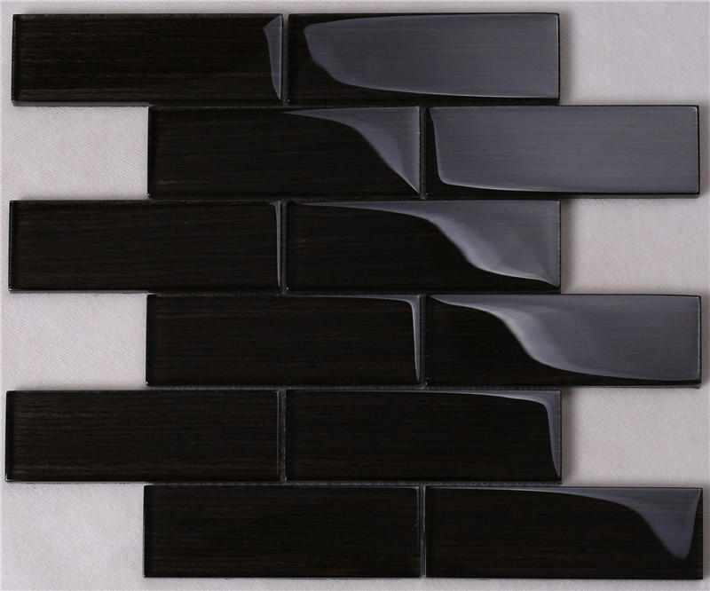 Black Wood-like Glass Tile