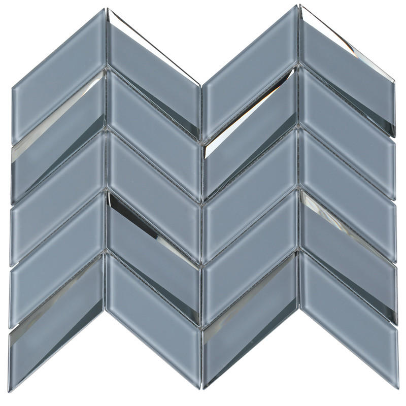 3D Grey Beveled Herringbone Mosaic Tile HMB103