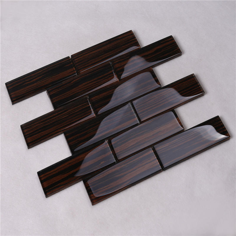 Natural Envionmental Wood Grain Glass Mosaic Tile