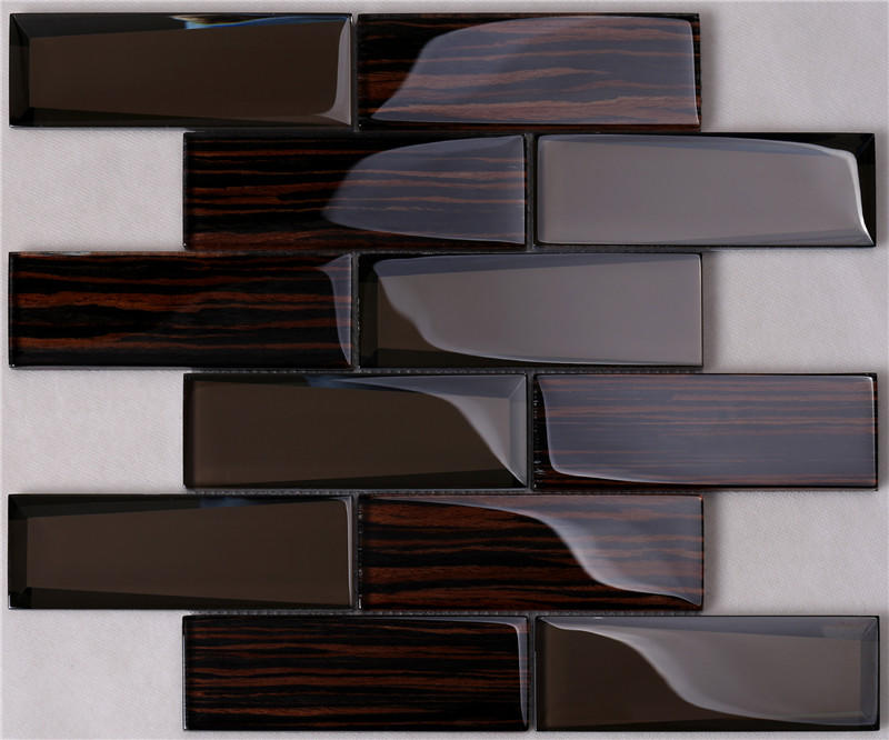 Beveled Wood-like Glass Tile