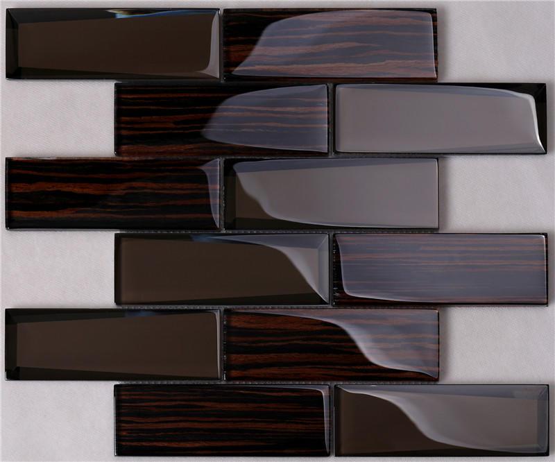 Beveled Wood-like Glass Tile
