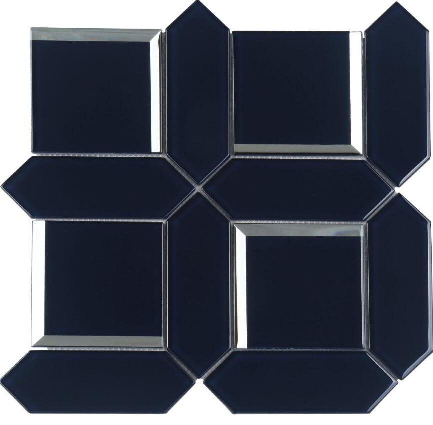Bevel Glossy Glass Mosaic tiles irregular shape HMB121