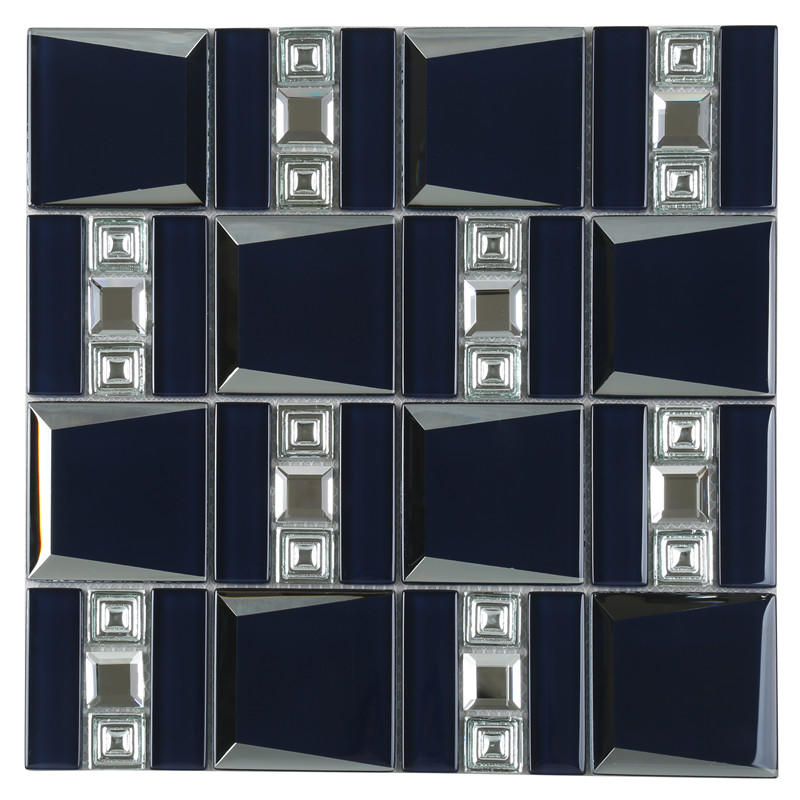 Navy Blue Backsplash Glass Mosaic Tile Glass Kitchen Backsplash Tile