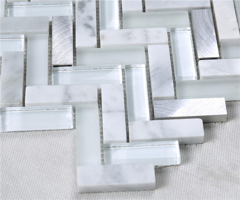 Silver Herringbone Shape Alloy Stone Crystal Metal Glass Mosaic TIle YMS37
