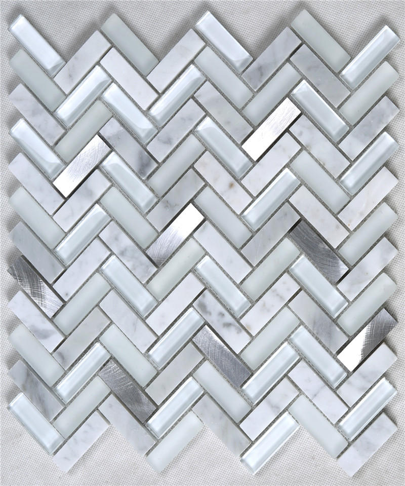 Silver Herringbone Shape Alloy Stone Crystal Metal Glass Mosaic TIle YMS37