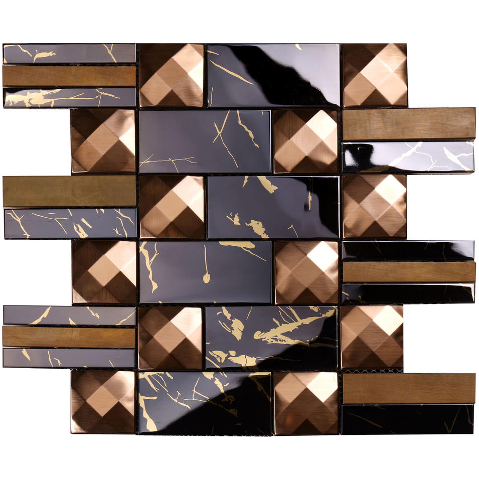 Pattern Mix Rose Gold 3d Brushed Stainless Steel Mosaic Tile