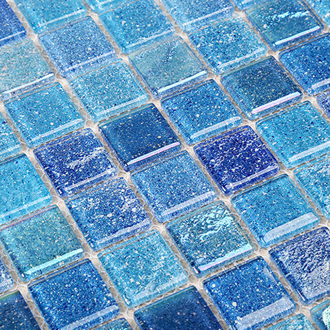 1x1 Iridescent Electroplated Starry Sky Blue Glass Mosaic Tiles