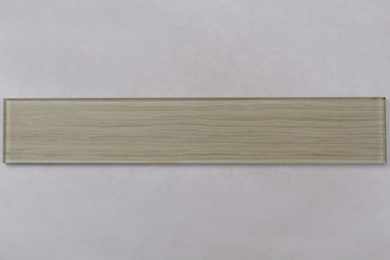 Natural Wooden Color Beige Glass Mosaic Tiles HSMW11