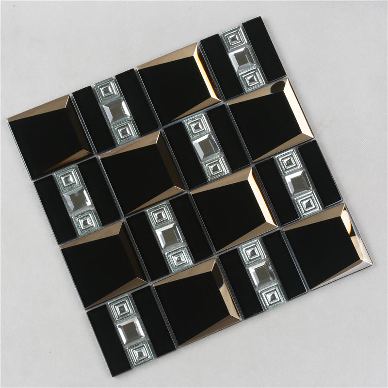 Black Luxurious Beveled Glass Mosaic Tiles HMB126