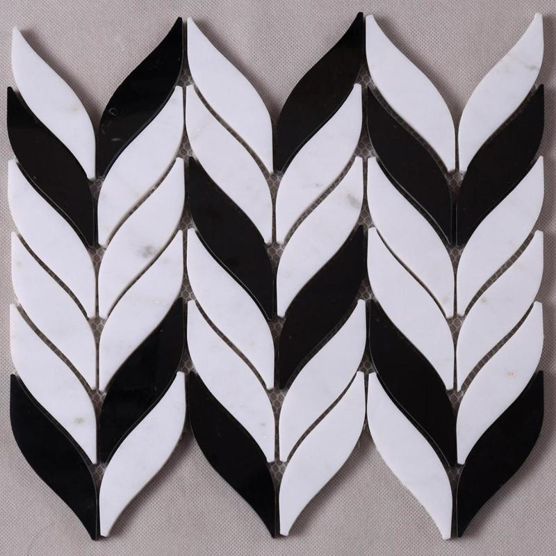 Leaf Design Natural Stone Mosaic Tile for Background Wall Decoration HSC04