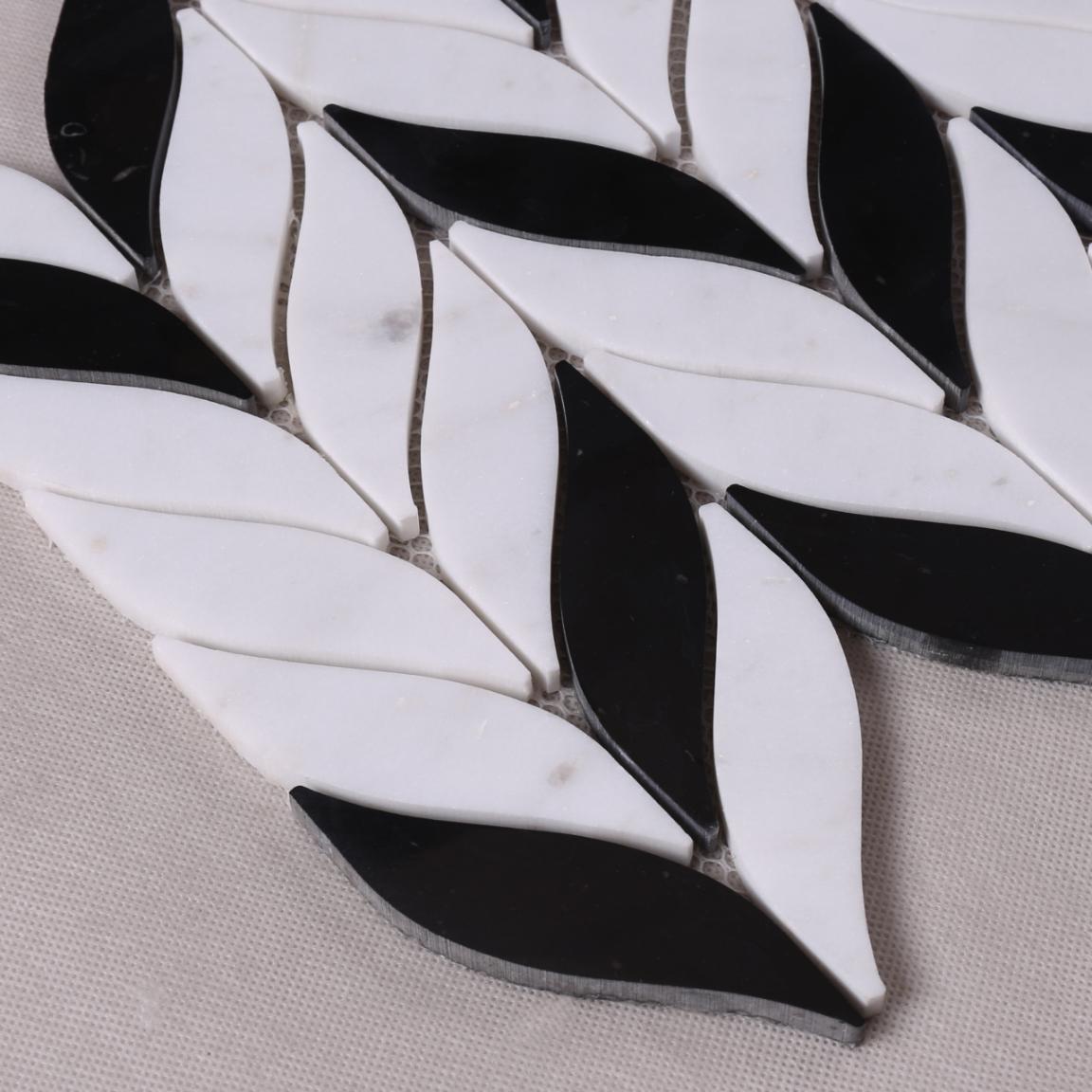 Leaf Design Natural Stone Mosaic Tile for Background Wall Decoration HSC04