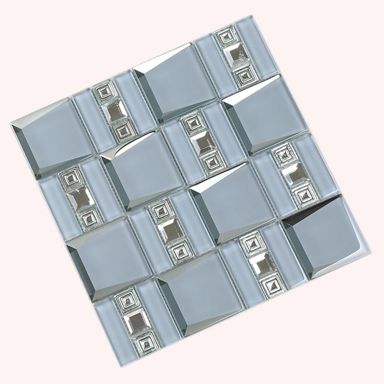 Backsplash Electroplating Beveled Crystal Glass Mirror Mosaic Wall Tile For Bathroom HMB119