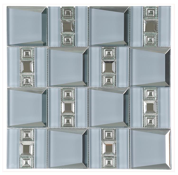 Backsplash Electroplating Beveled Crystal Glass Mirror Mosaic Wall Tile For Bathroom HMB119