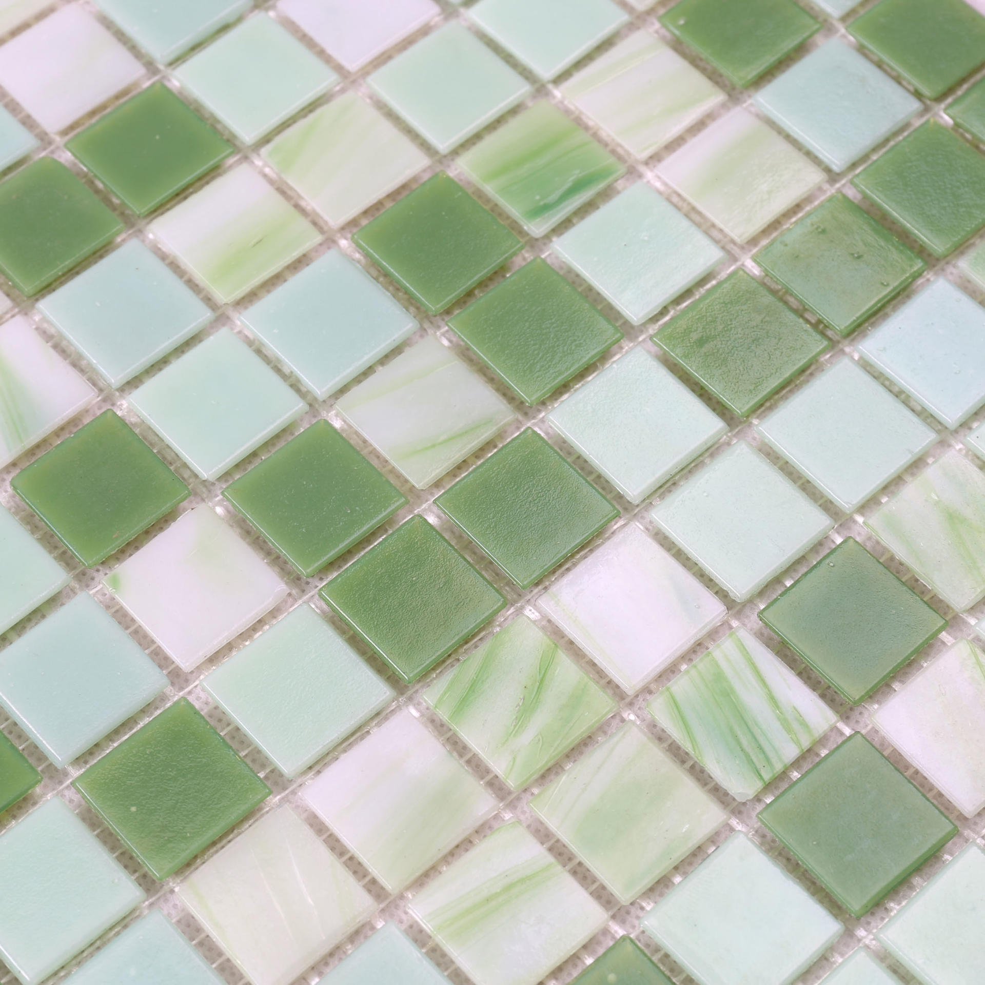 Green golden line hot melting glass swimming pool tiles