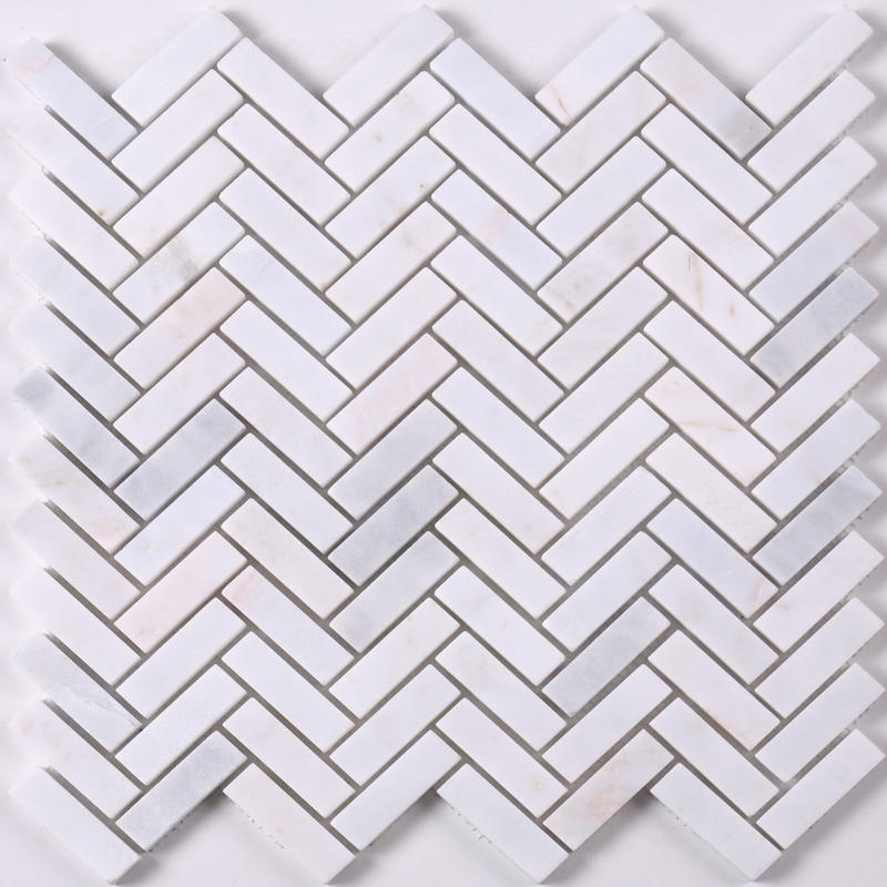 HSC147 Carrara Herringbon White Marble Mosaic Tiles