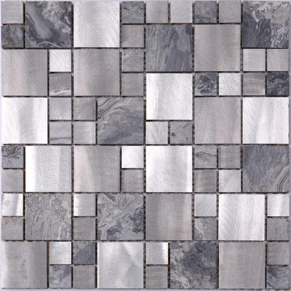 Aluminum Mix Stone Mosaic Tile for Washroom HLC117