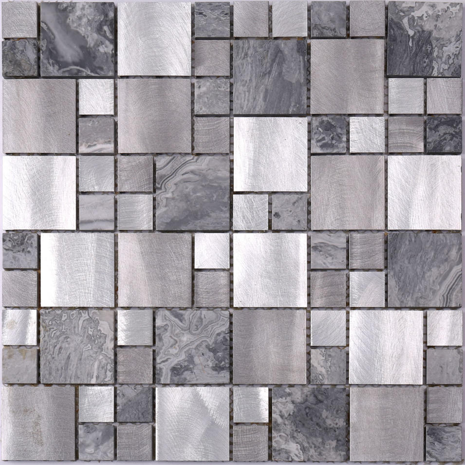 Aluminum Mix Stone Mosaic Tile for Washroom HLC117