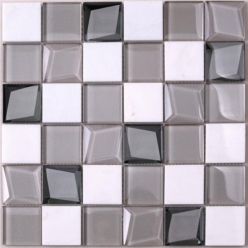 White Glass Tile Glass Wall Tiles For Kitchen Hengsheng
