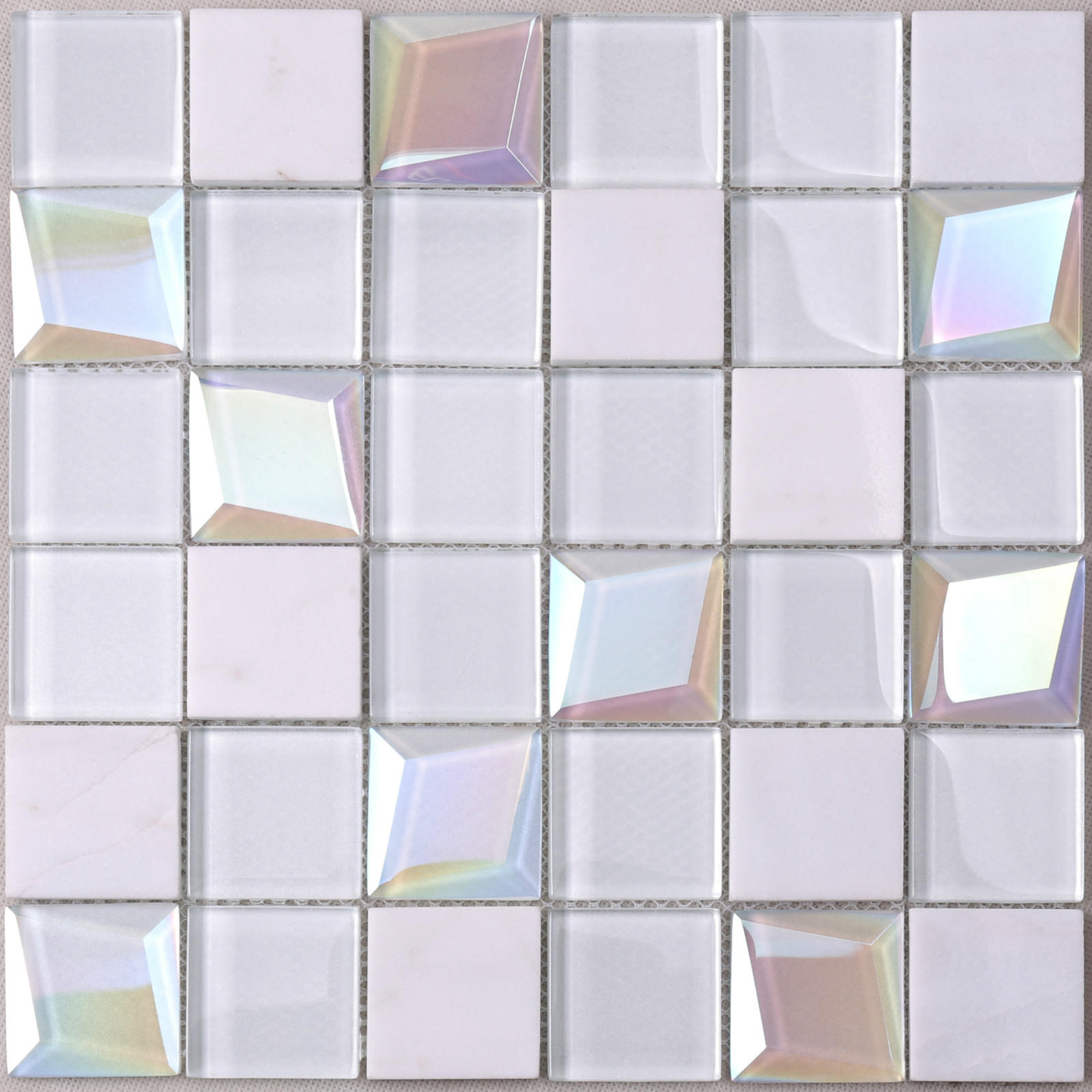 HMB62 Parquet White 3D Beveled Glass Mix Stone Mosaic Tile
