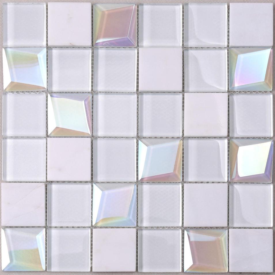 HMB62 Parquet White 3D Beveled Glass Mix Stone Mosaic Tile