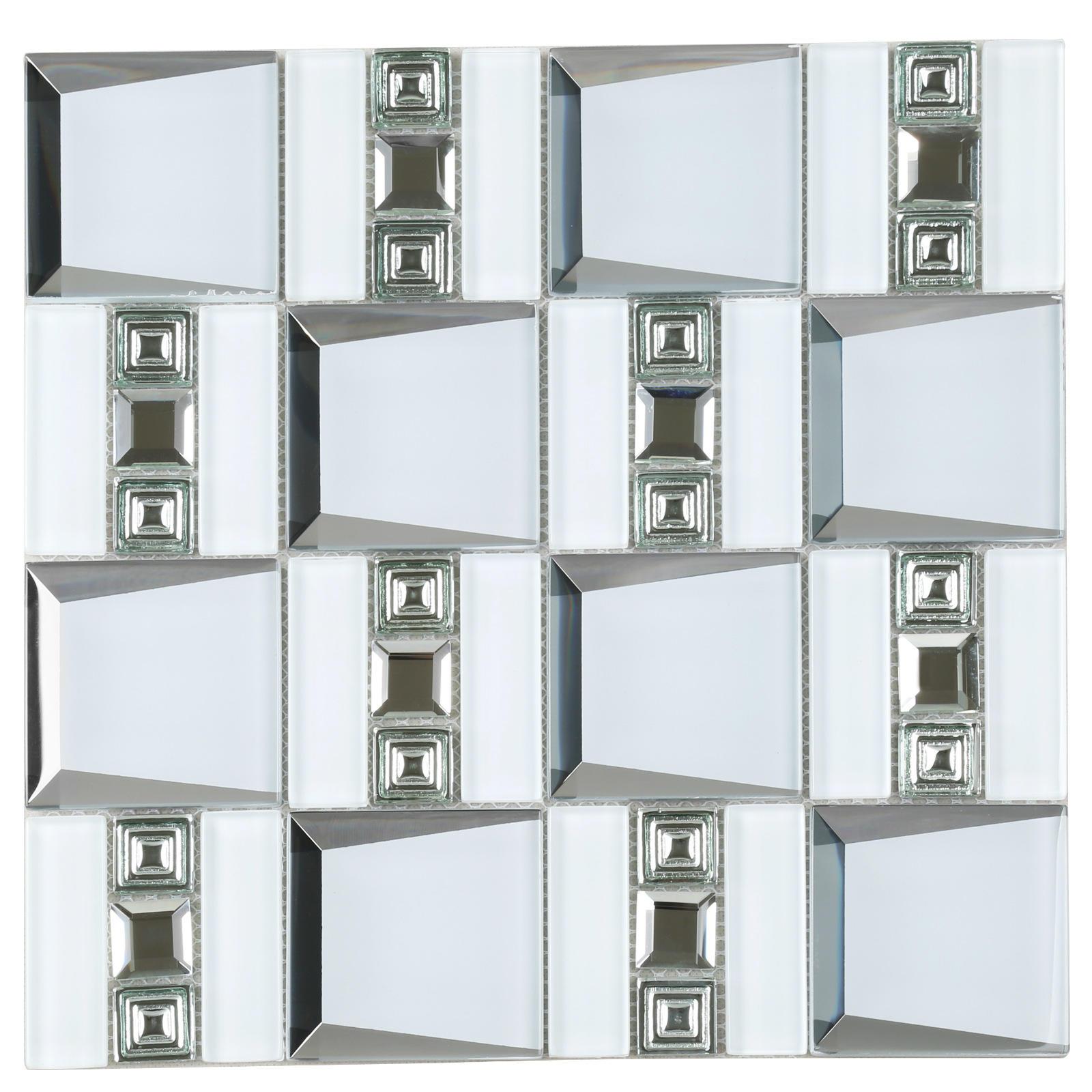 HMB120 3D Beveled Crystal Glass Mosaic Tile Italian White Wall Cover