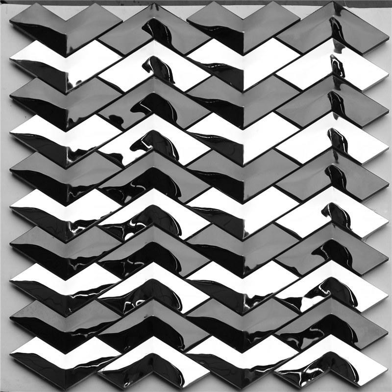 Black and Sliver 304 Stainless Steel Decorative Herribone Metal Mosaic Tile