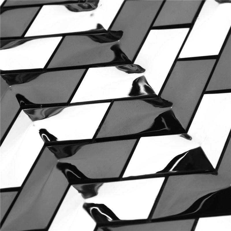 Black and Sliver 304 Stainless Steel Decorative Herribone Metal Mosaic Tile
