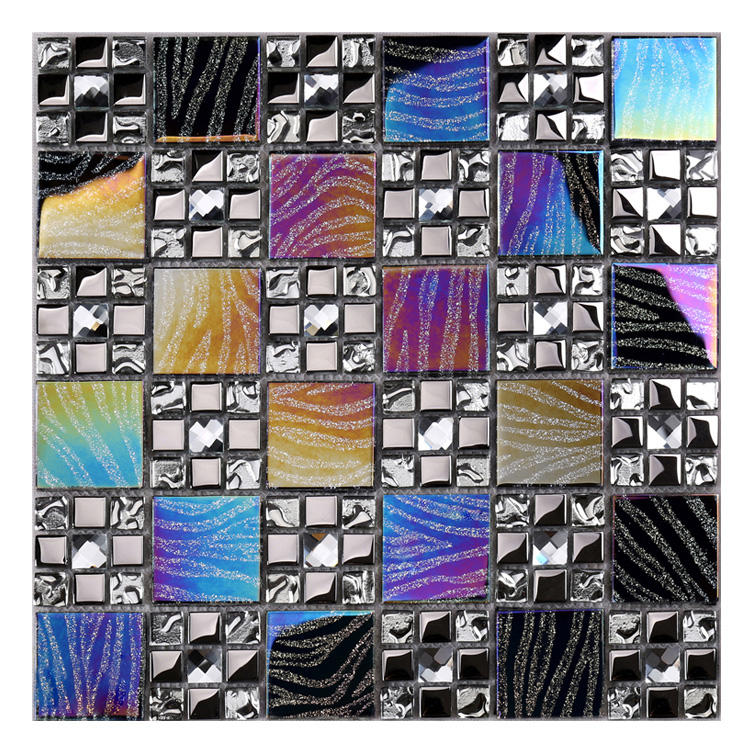Rainbow Color Symthony Iridescent Beveled Pebbel Mirror Glass Mosaic With Glitter Lines