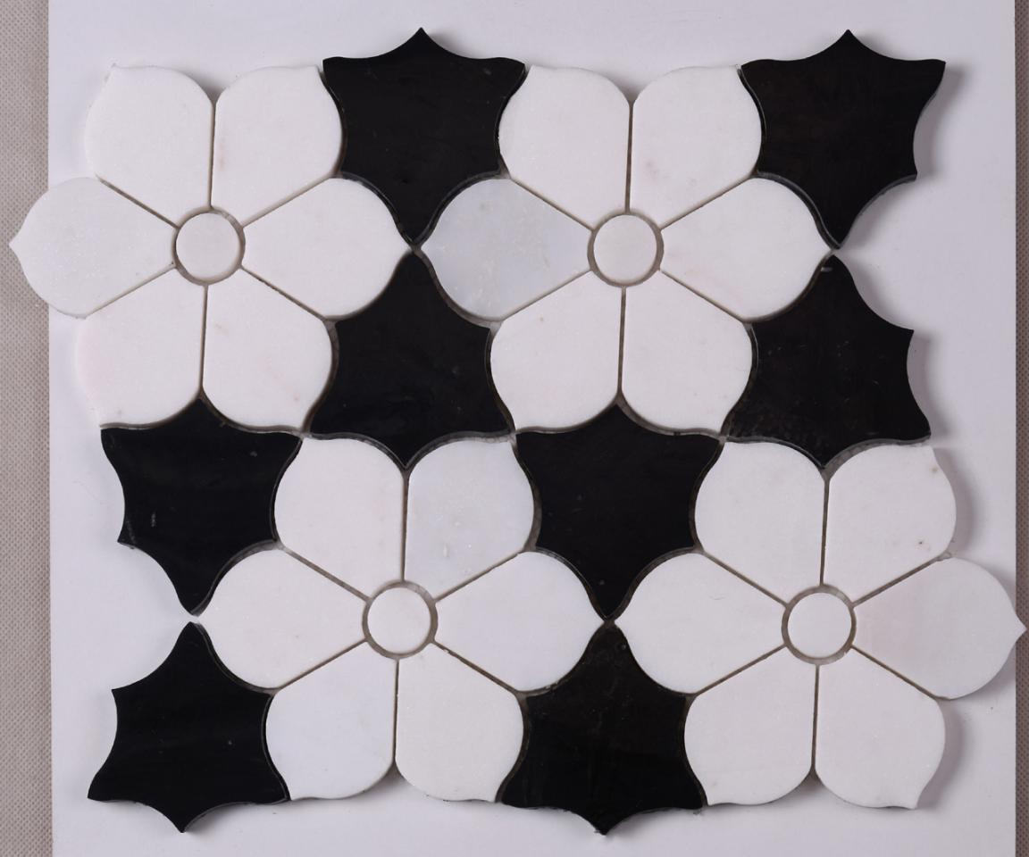 HSC62 White Mixed Black Flower Shape Marble Mosaic Backsplash Tile
