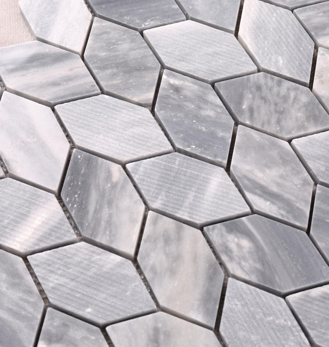 HSC137 Classic Grey Color Leaf Shape Stone Mosaic Floor Tile