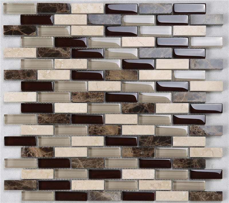 Classic Rectangle Glass Mixes Stone Mosaic Tiles for Kitchen Backsplash