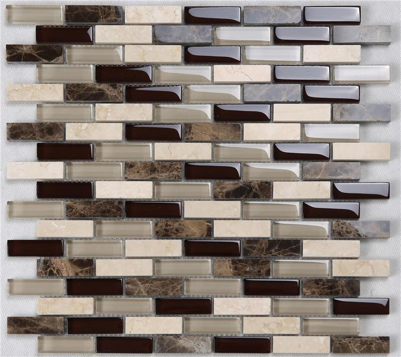 Classic Rectangle Glass Mixes Stone Mosaic Tiles for Kitchen Backsplash