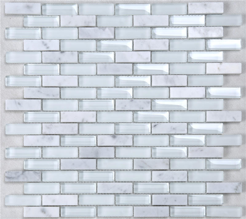 Super White Glossy Matt Rectangle Glass Mixes Stone Mosaic Tiles For Wall