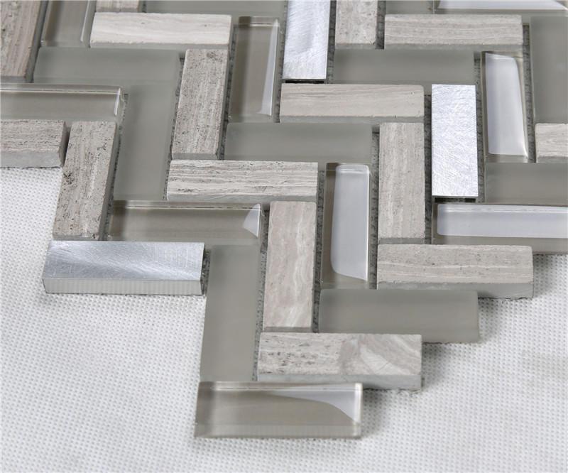 Herringbone Brown Glass Mix Stone Metal Mosaic Tiles Decorative Tiles