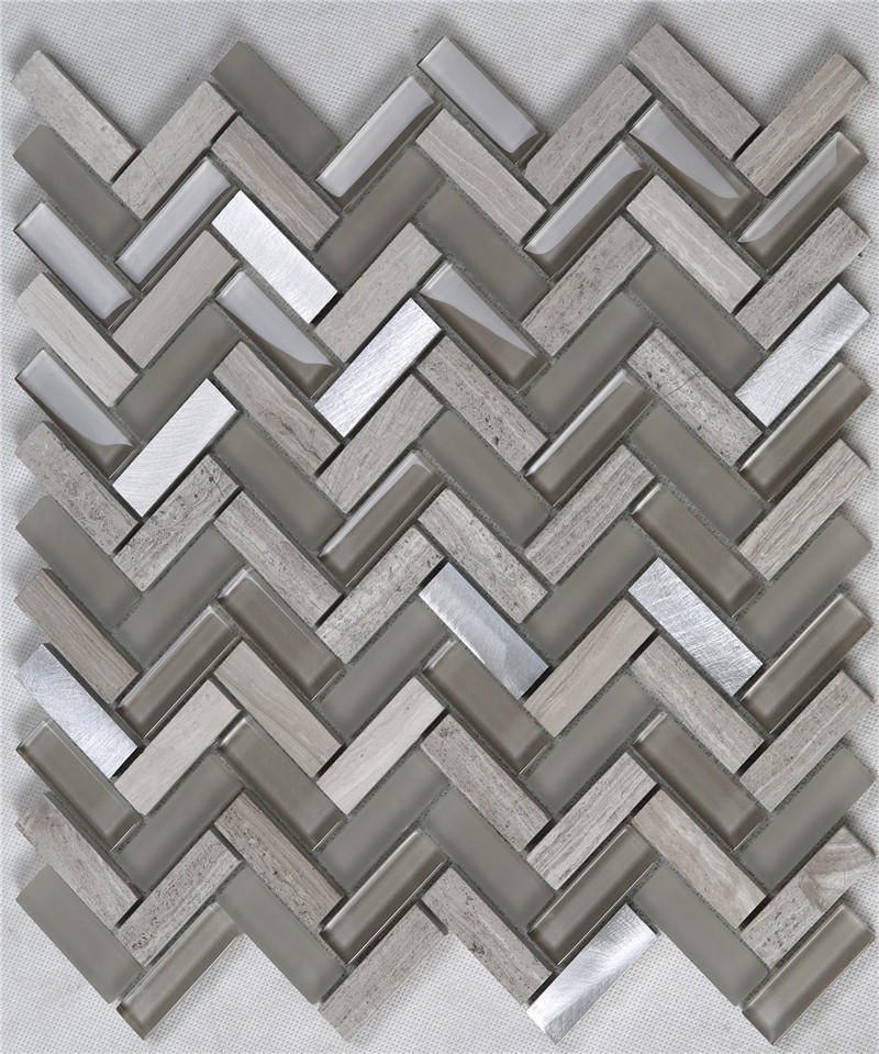Herringbone Brown Glass Mix Stone Metal Mosaic Tiles Decorative Tiles