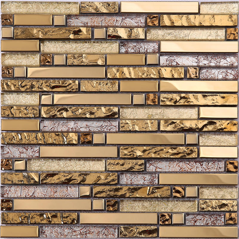 3D Gold Foil Glass Mixes Metal Mosaic Tiles For Wall Decoration