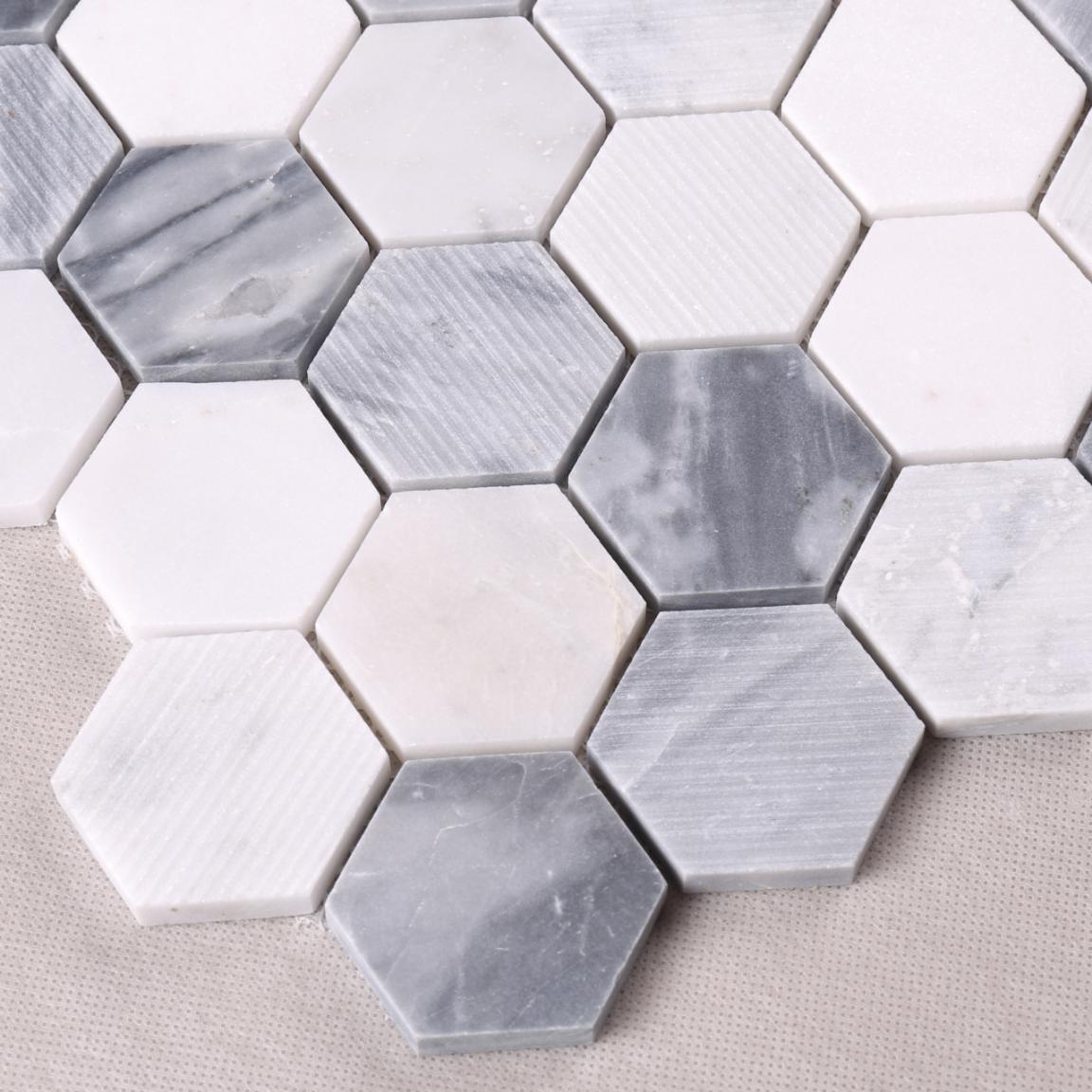 HSC134 Carrara White Hexagon Marble Backsplash Mosaic Tiles