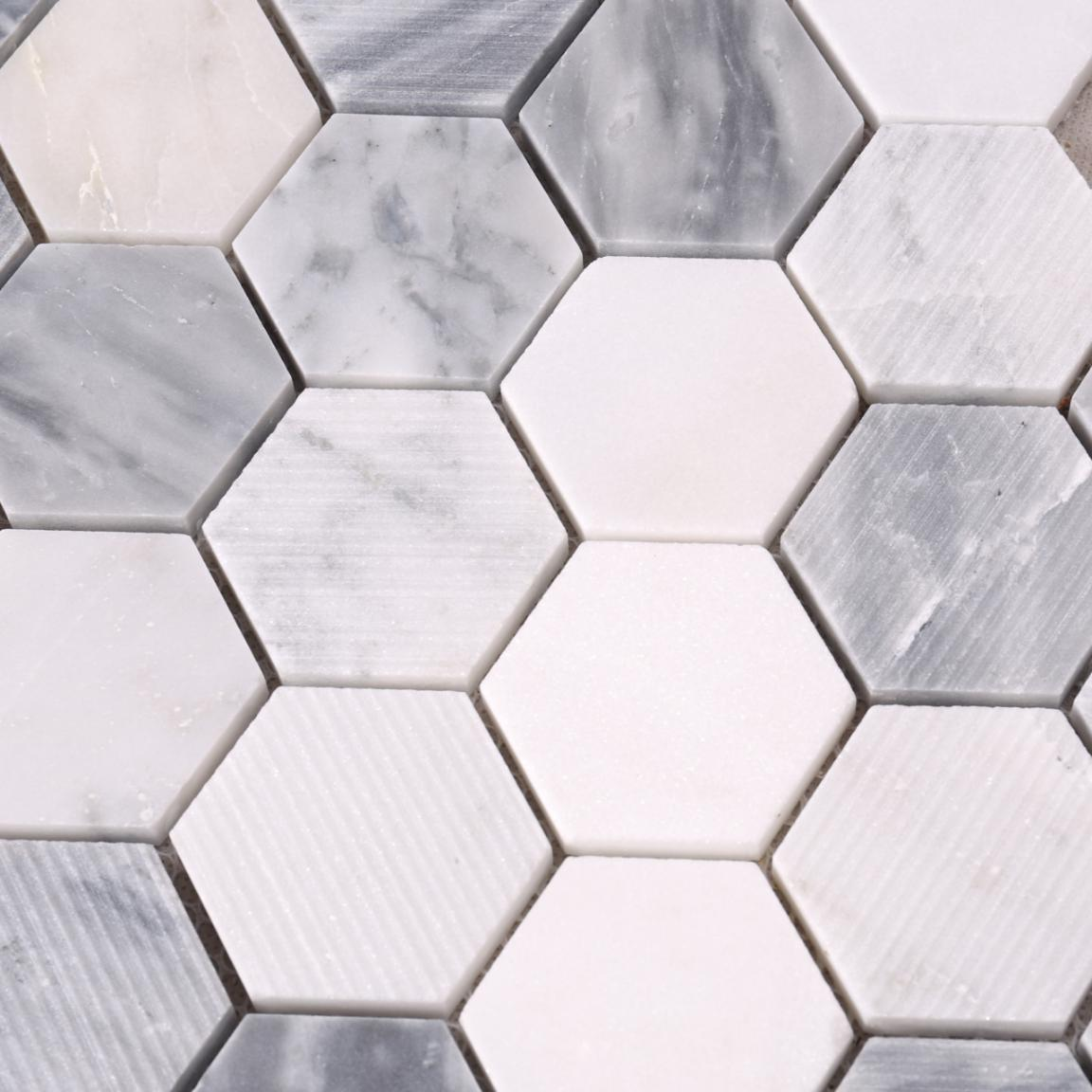 HSC134 Carrara White Hexagon Marble Backsplash Mosaic Tiles