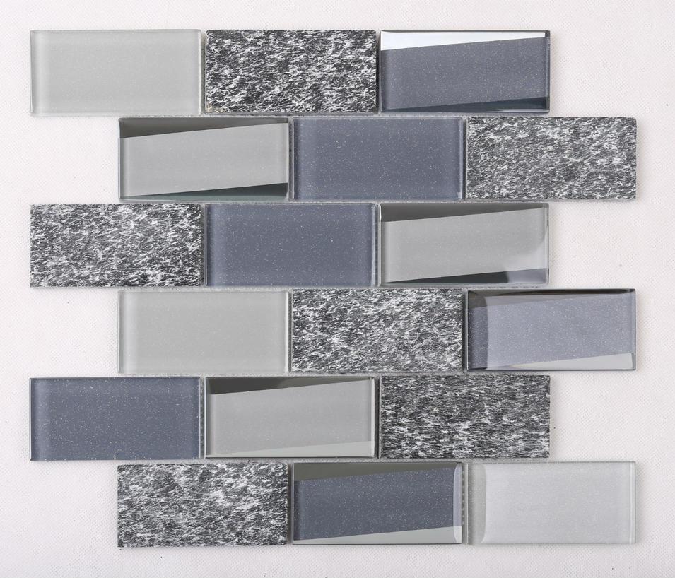 HMB03 Glass Mix Marble Mosaic Tile Grey Top Quality Kitchen Backsplash
