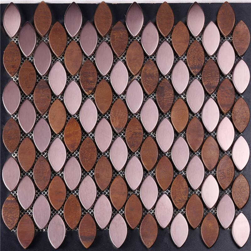 Leaf Shape Cheap Copper Mosaic Tile for Decoration